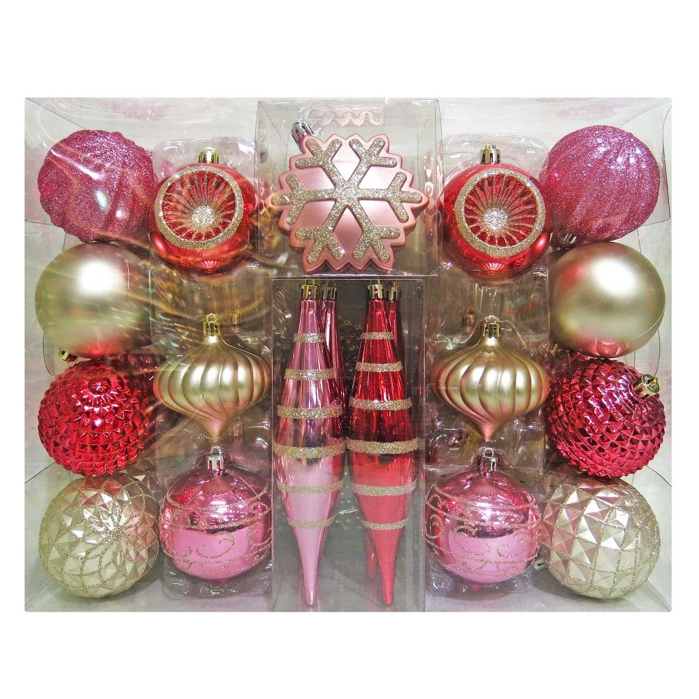 40ct blush christmas ornament set