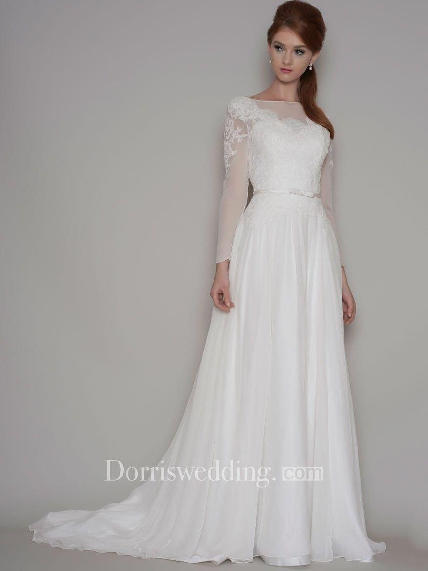 Sheath Long Sleeve Bateau Neck Chiffon Wedding Dress With Illusion Dorris Wedding Wedding Dress Sleeves Wedding Dress Long Sleeve Embellished Wedding Dress [ 1168 x 876 Pixel ]