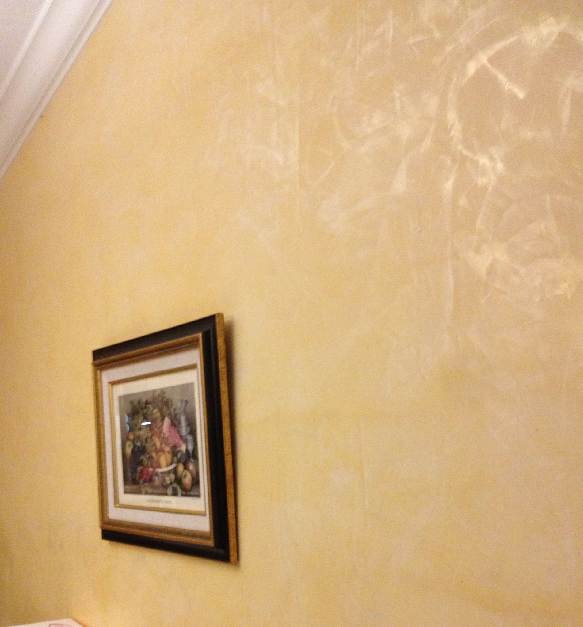 Yellow Venetian Plaster with golden wax. I did this 7 years ago ...