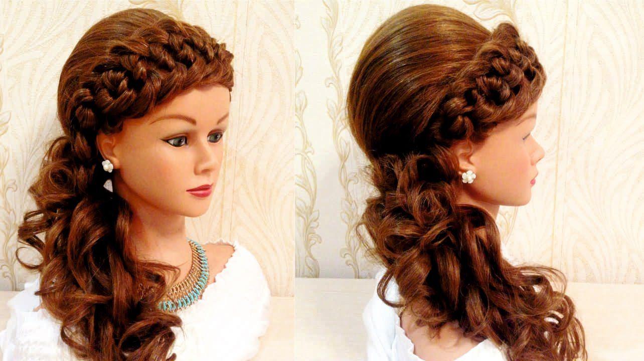 Свадебная прическа с плетнием braided wedding hairstyle for long  Свадебная прическа с плетнием braided wedding hairstyle for long hair