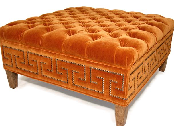 Nailhead - Orange Greek Key Tufted Ottoman