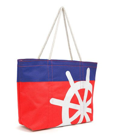 Take a look at this Navy & Red Wheel Tote on zulily today!