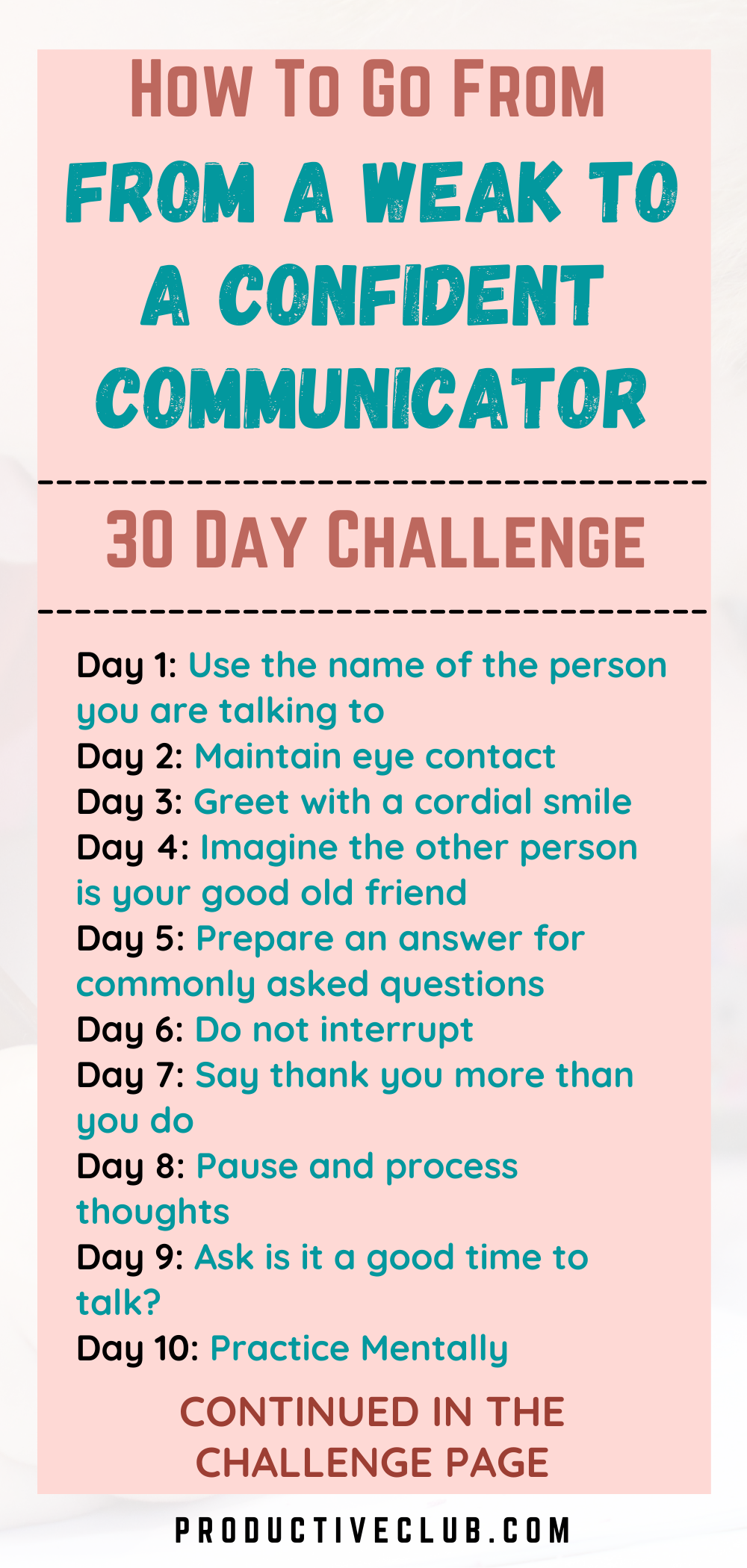 Improve Your Communication Skills 30 Day Challenge In 2021 Improve Communication Skills Communication Skills Personal Growth Motivation