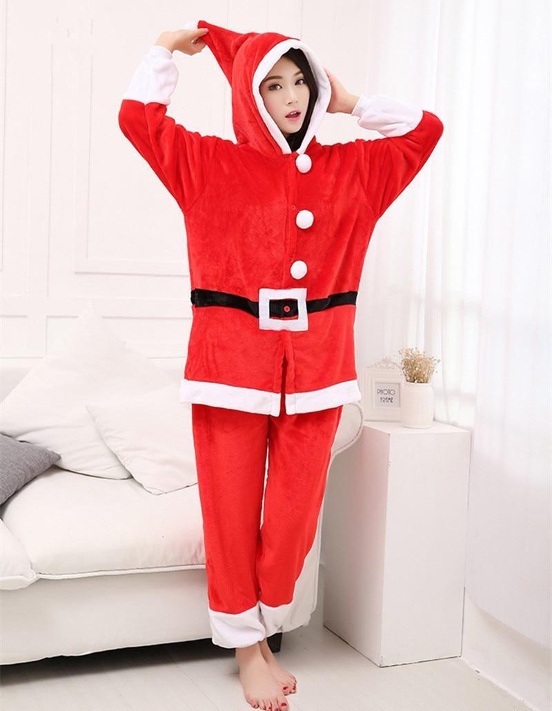 f886190c73b Polar Fleece Kigurumi Christmas Santa Claus Adult Cosplay Costume Unisex  Onesie Pajamas Jumpsuit for Halloween Christmas