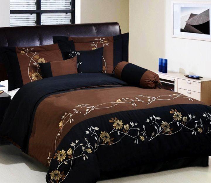 Brown Comforter Sets Queen Chocolate Black Fl Set Item 7 Piece