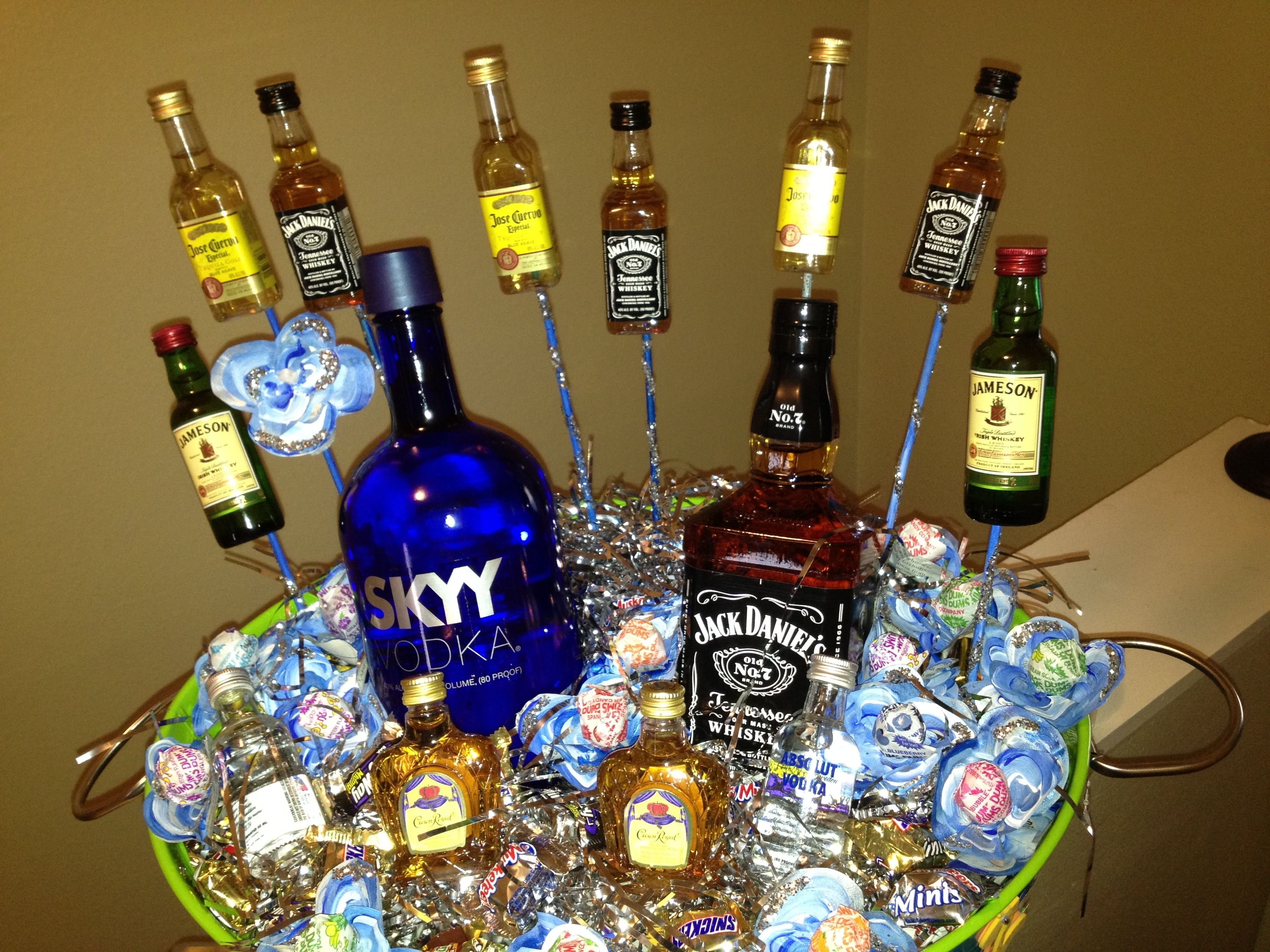 21st Birthday Liquor Basket! Those Dum Dum Flowers Took