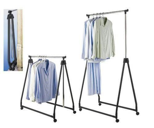 portable collapsible adjustable clothes hanging rail rack dress display unit new hanging rail. Black Bedroom Furniture Sets. Home Design Ideas