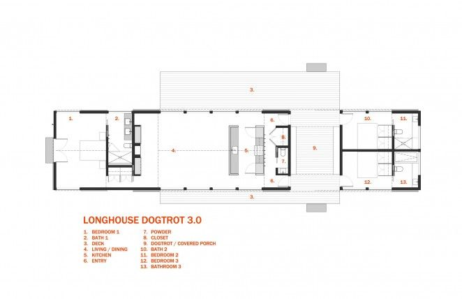 Longhouse Dogtrot Floor Plan 3 Bedroom Architect Designed Plan Set Would Be Awesome On Land Each Bedroom Has House Plans House Floor Plans Barn House Plans