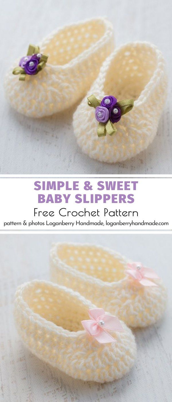 Simple & Sweet Baby Slippers Free Crochet Pattern