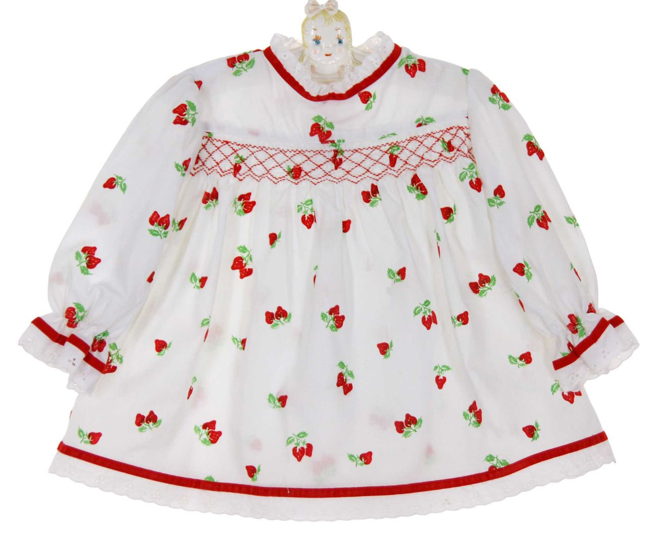 ce8a570da Vintage 1960s Polly Flinders White Smocked Dress with Red Flocked  Strawberries $50.00