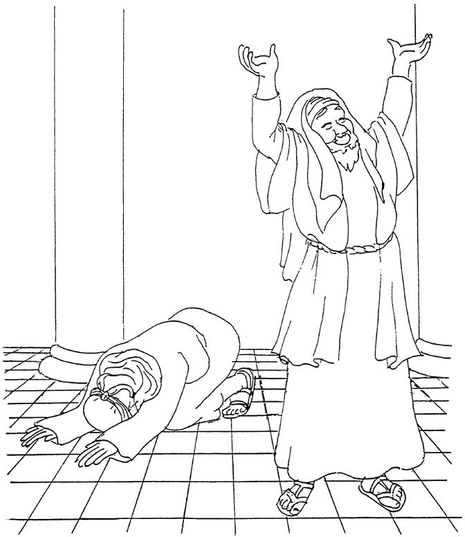 The Pharisee And The Tax Collector Coloring Page Bible Coloring