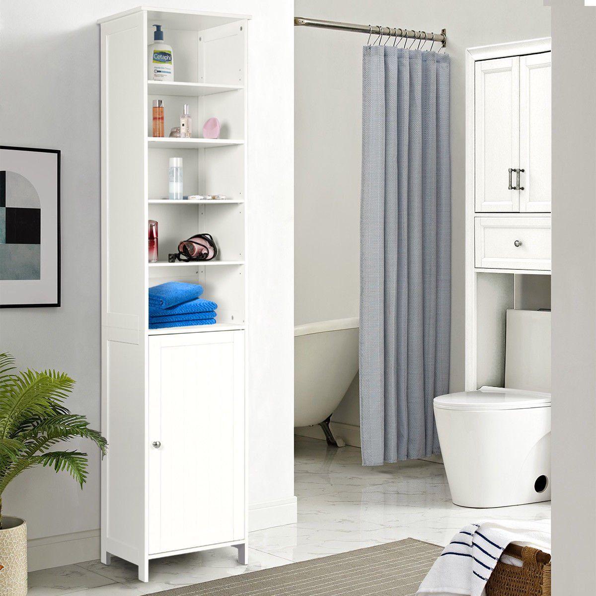 Costway 5 Shelf 72 Inch Tall Bathroom Storage Floor Cabinet Free Standing Walmart Com Walm In 2020 Tall Bathroom Storage Bathroom Standing Cabinet Storage Shelves