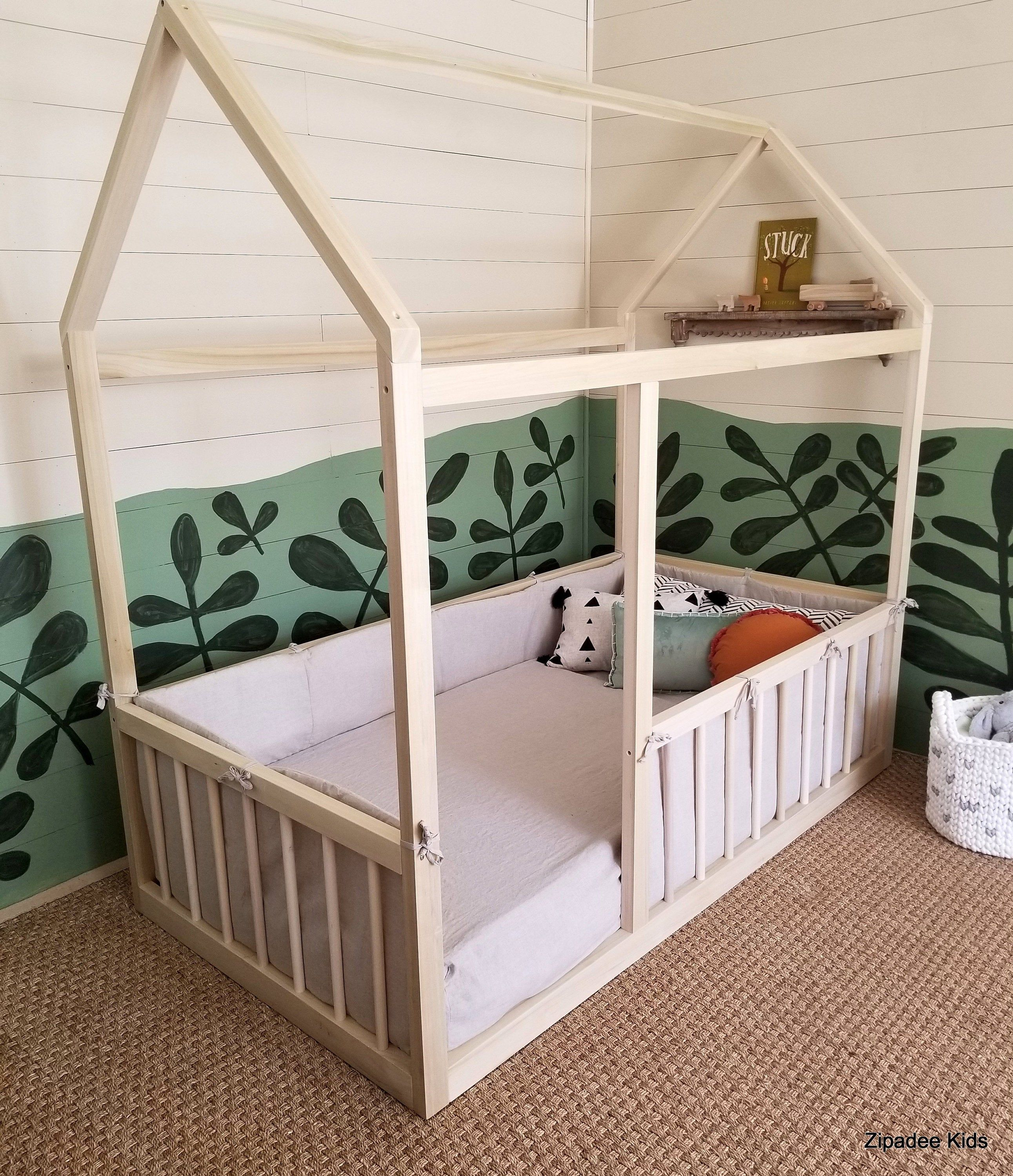 Hardwood House Bed Montessori Twin Full Bed With One Two Etsy House Frame Bed Bed Frame Mattress Floor Bed