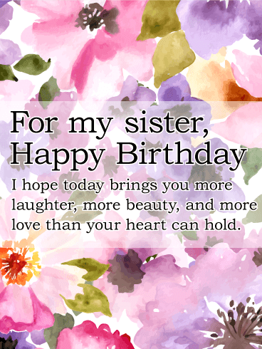 Birthday Cards For Sister Free Download : birthday, cards, sister, download, Painted, Flower, Happy, Birthday, Sister, Greeting, Cards, Davia, Greetings, Sister,, Messages, Wishes