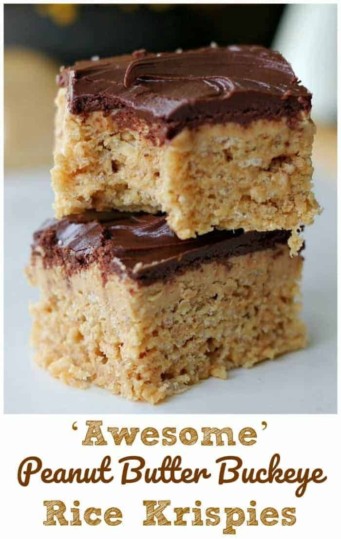 'Awesome' Peanut Butter Buckeye Rice Krispies #peanutbuttersquares