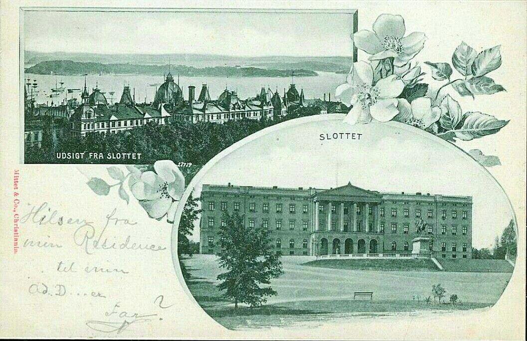 """Christiania Kristiania. """"Hilsen fra-"""" type postkort med 2 bilder. Utg Mittet ca 1900"""
