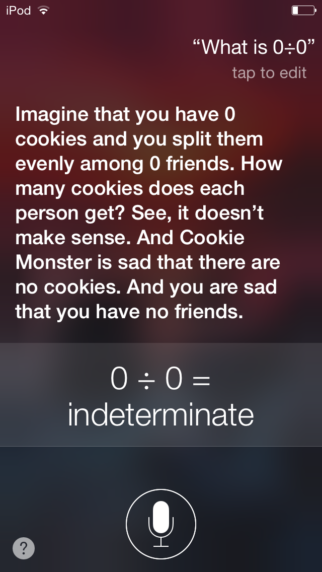 So I Asked Siri What 0 0 Is Yeah It Took A Strange Turn At The End There Things To Ask Siri Funny Siri Questions Funny Texts