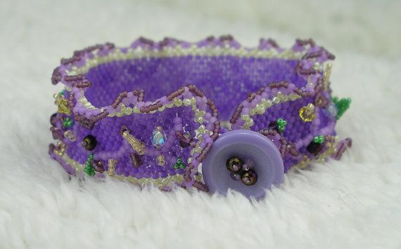 Lavender Beaded Bracelet with Vines and Flowers by elegantyoubeads, $32.00