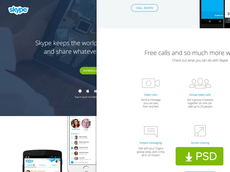 (Free PSD) Skype Website Redesign by sumit chakraborty