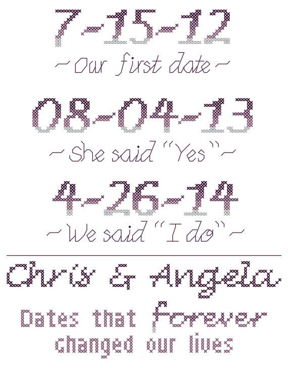Modern Wedding Cross Stitch Pattern Important Dates in Our Lives ...