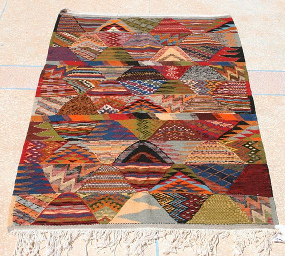 Blue Red Green Rug Kilim 3x5 Bright Area Colorful Throw