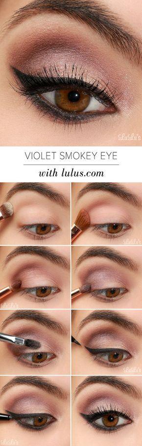 Tutorial de ojos ahumados con sombras violeta-dest maquillaje