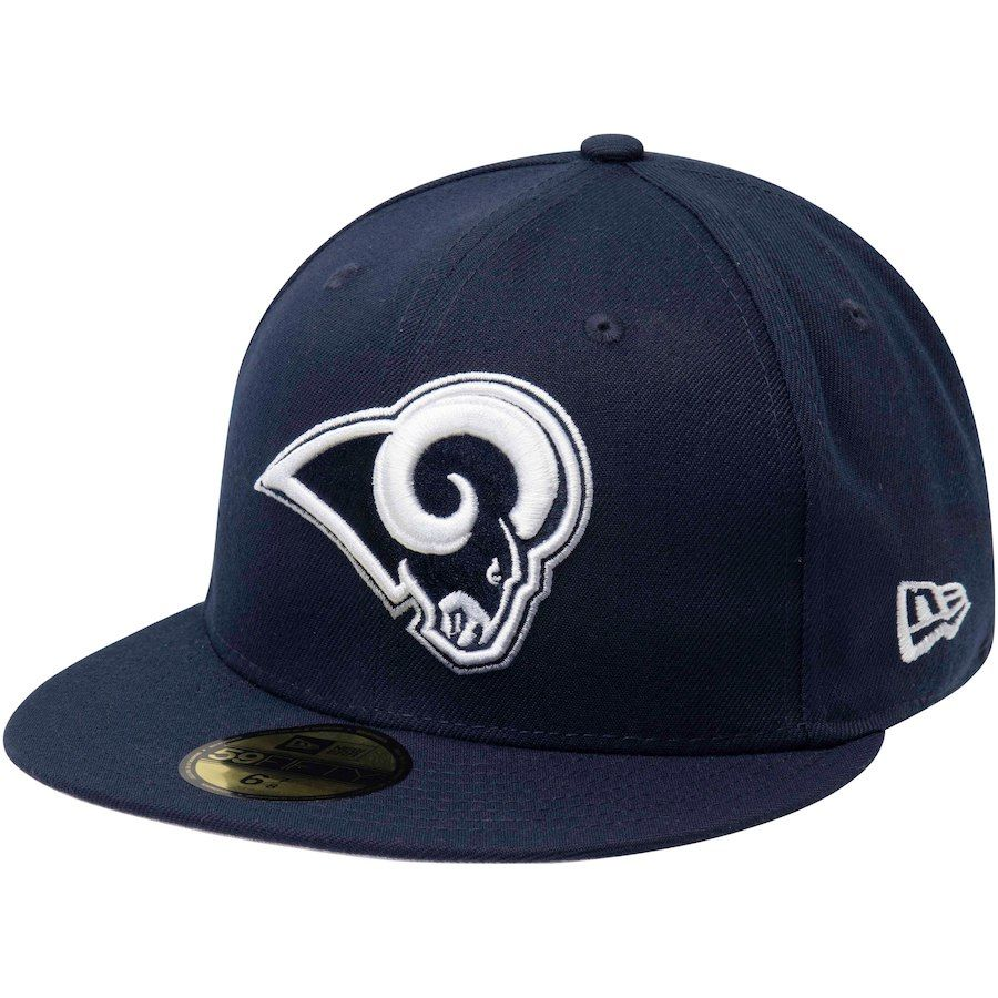 b266105966c Men s Los Angeles Rams New Era Navy Solid 59FIFTY Fitted Hat