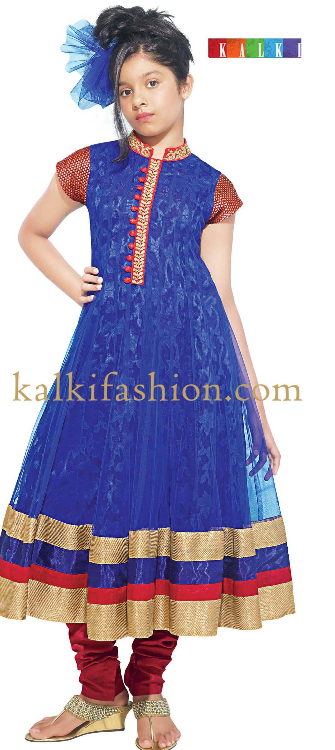 Buy it now http://www.kalkifashion.com/blue-anarkali-dress-with ...