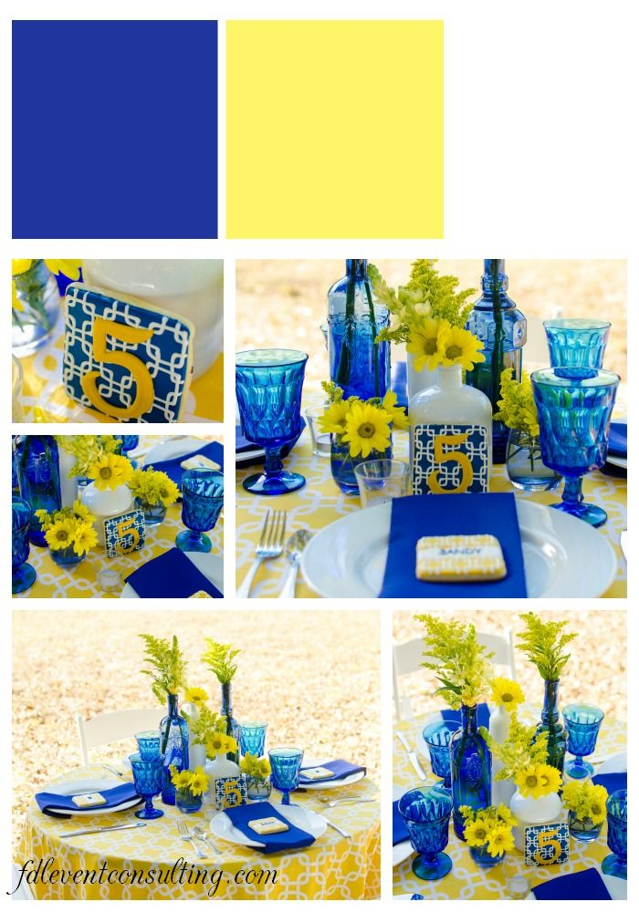 Cobalt Blue And Yellow Tablescape Pensacola Wedding Planner