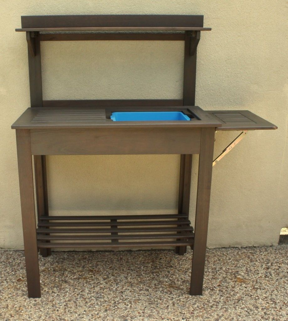 Potting Bench Turned Outdoor Bar | Organization in the garden ...
