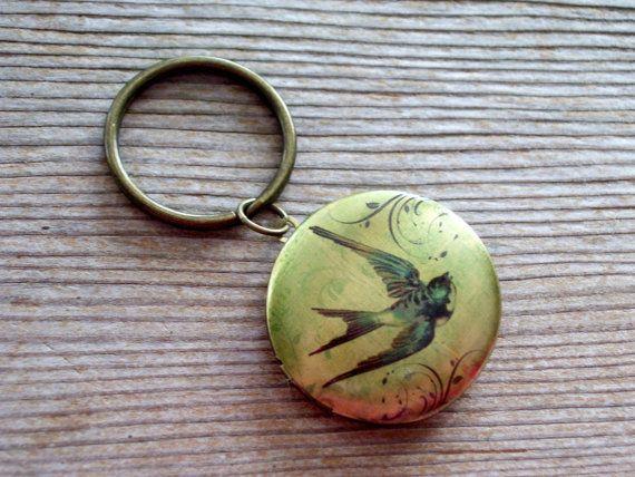 Victorian Swallow Key Chain Soaring Bird Art Image by LoveLockets