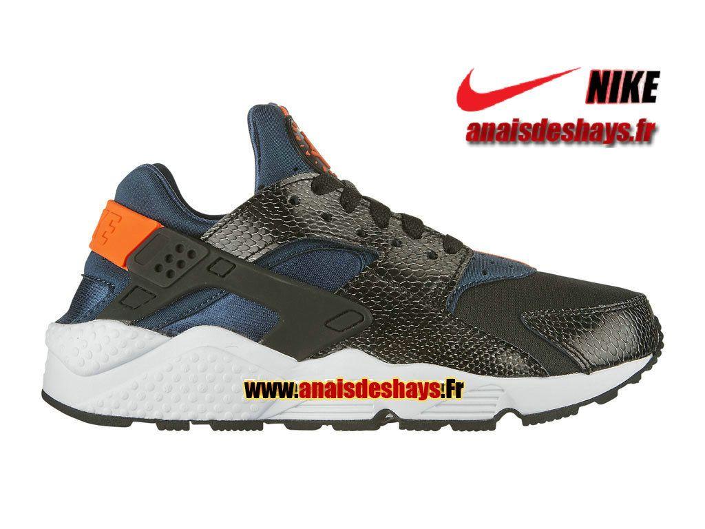 c8ef3788364 Boutique Officiel Nike Wmns Air Huarache GS Femme Enfant Noir Cramoisi  Hyper Bleu