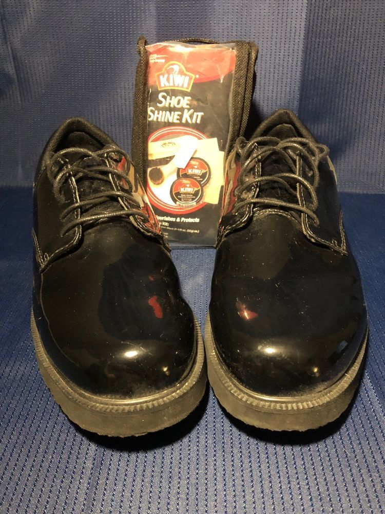 Bates mens military dress shoes black high gloss size