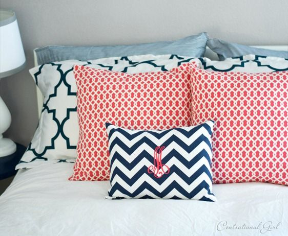 Guest Room  Coral And Navy Accents Cg Hall Bath Colors   Gray Walls With  Blue And Coral/raspberry Accessories