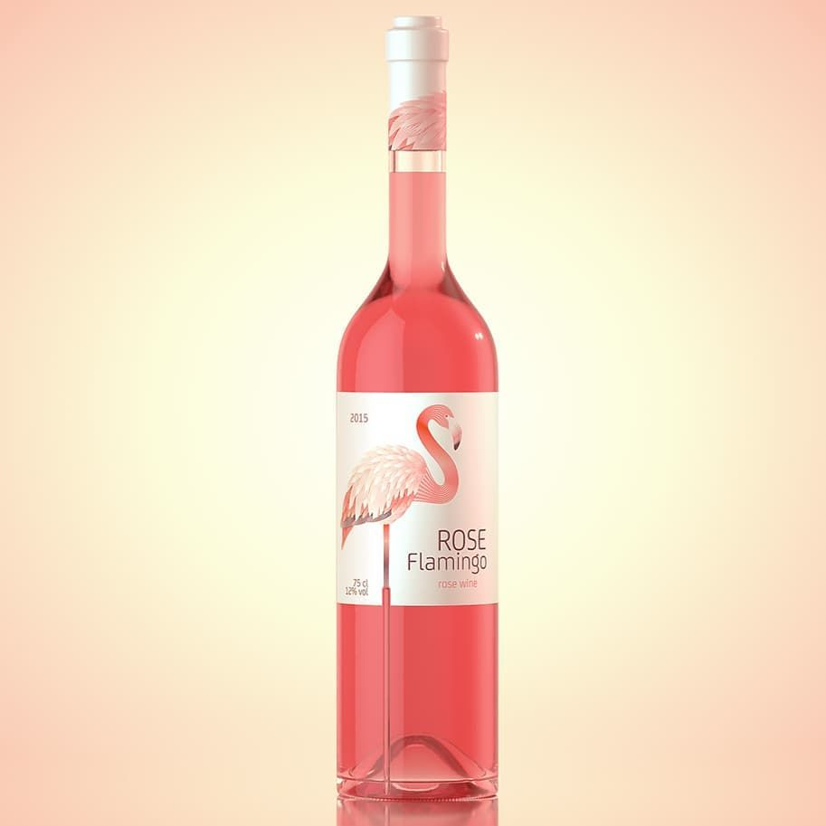On Packaging On Instagram Designed By Waldemarart Selected By Erostorre Ok I Admit I Have A Thing For Flamingos So I Might Appear Wine Rose Wine Bottle