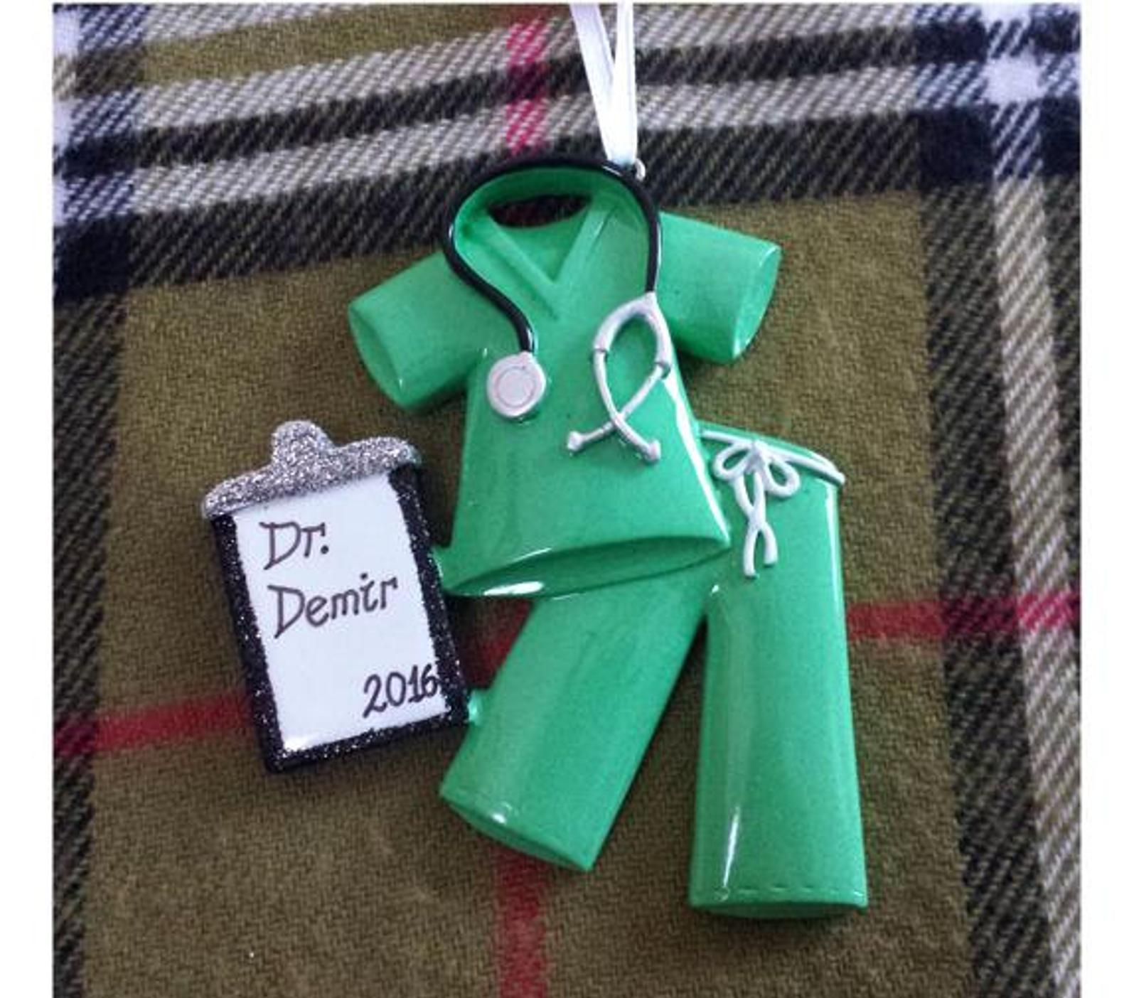 Personalized Christmas Ornament Teal Scrubs Gift for Doctor, Nurse/Medical School Grad/Retirement Gift, RN, MD & More - Scrubs Ornament