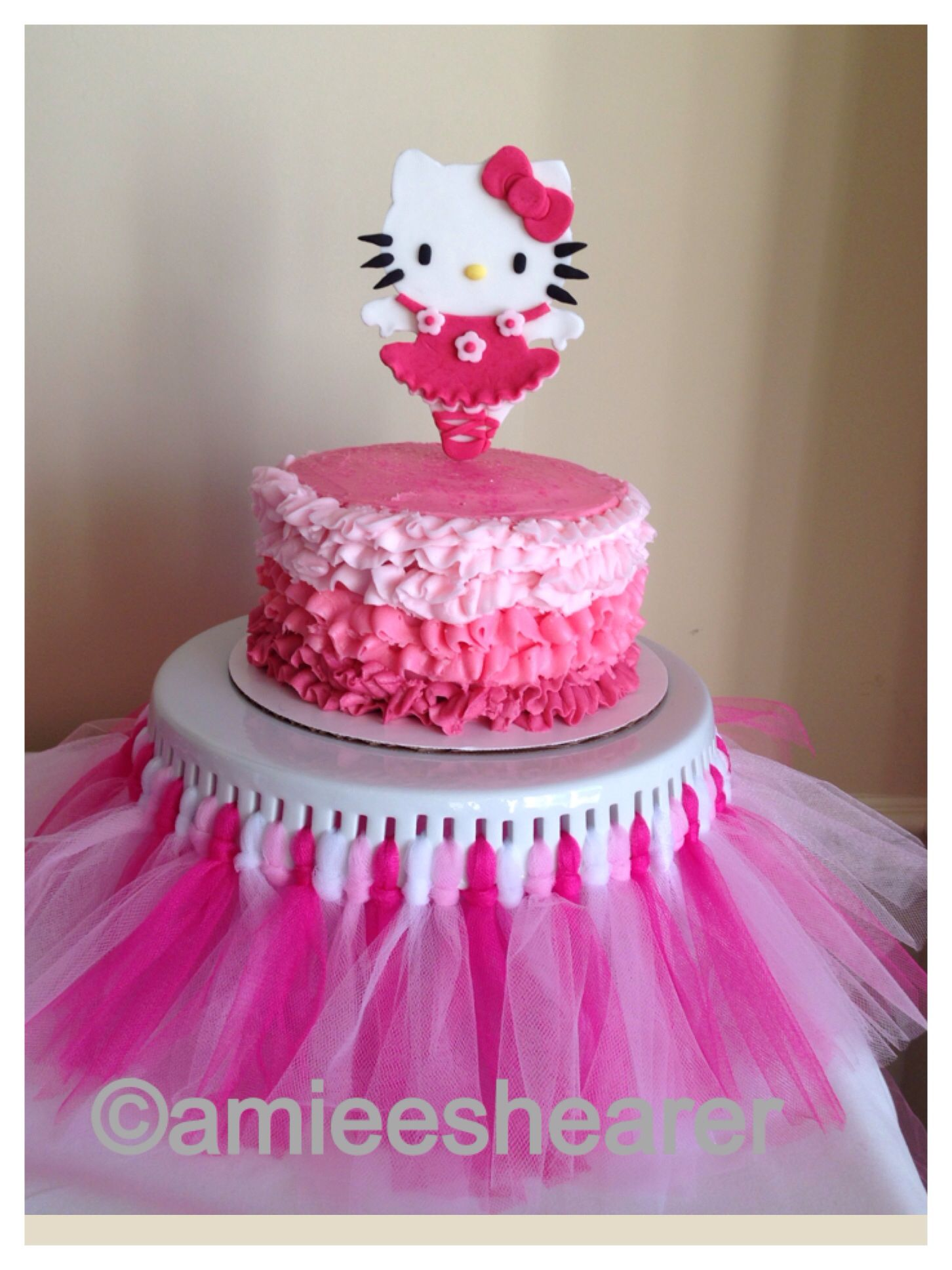 8dfba5658 M's Hello Kitty Ballerina ruffle cake   Baby Shower   Hello kitty ...