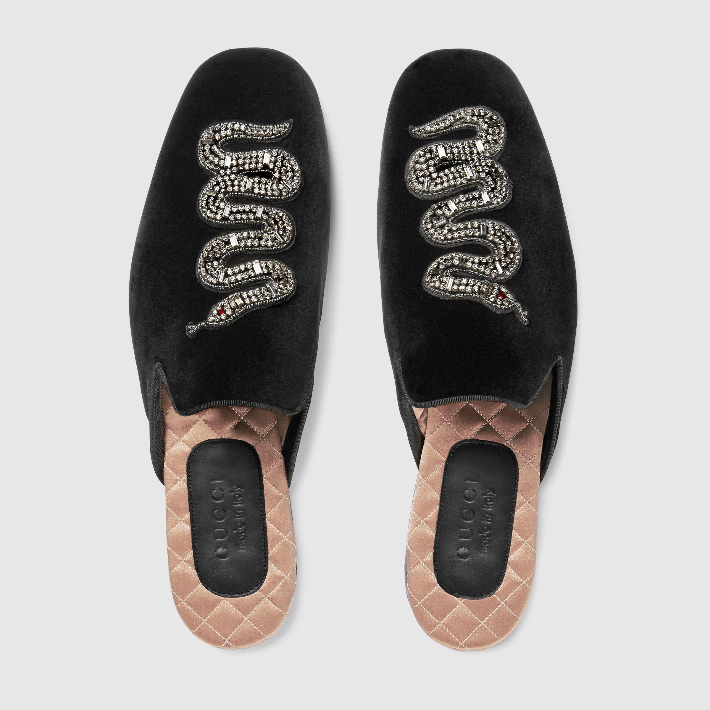 ff80cddcc4f Gucci Velvet evening slipper with snake Detail 3