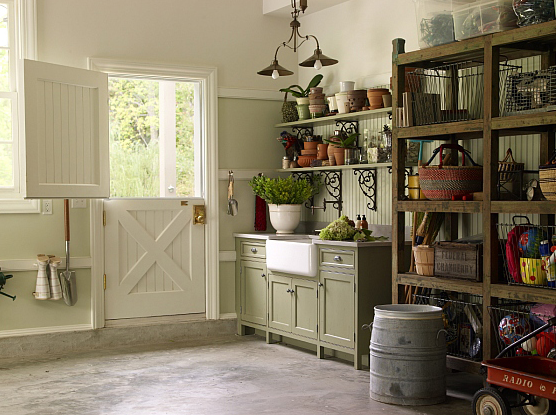 Kitchens By Deane Garage With Beadboard Dutch Door And Soft Green Beadboard Walls Garage With Green Beadboard Kitchen Dutch Door Decor