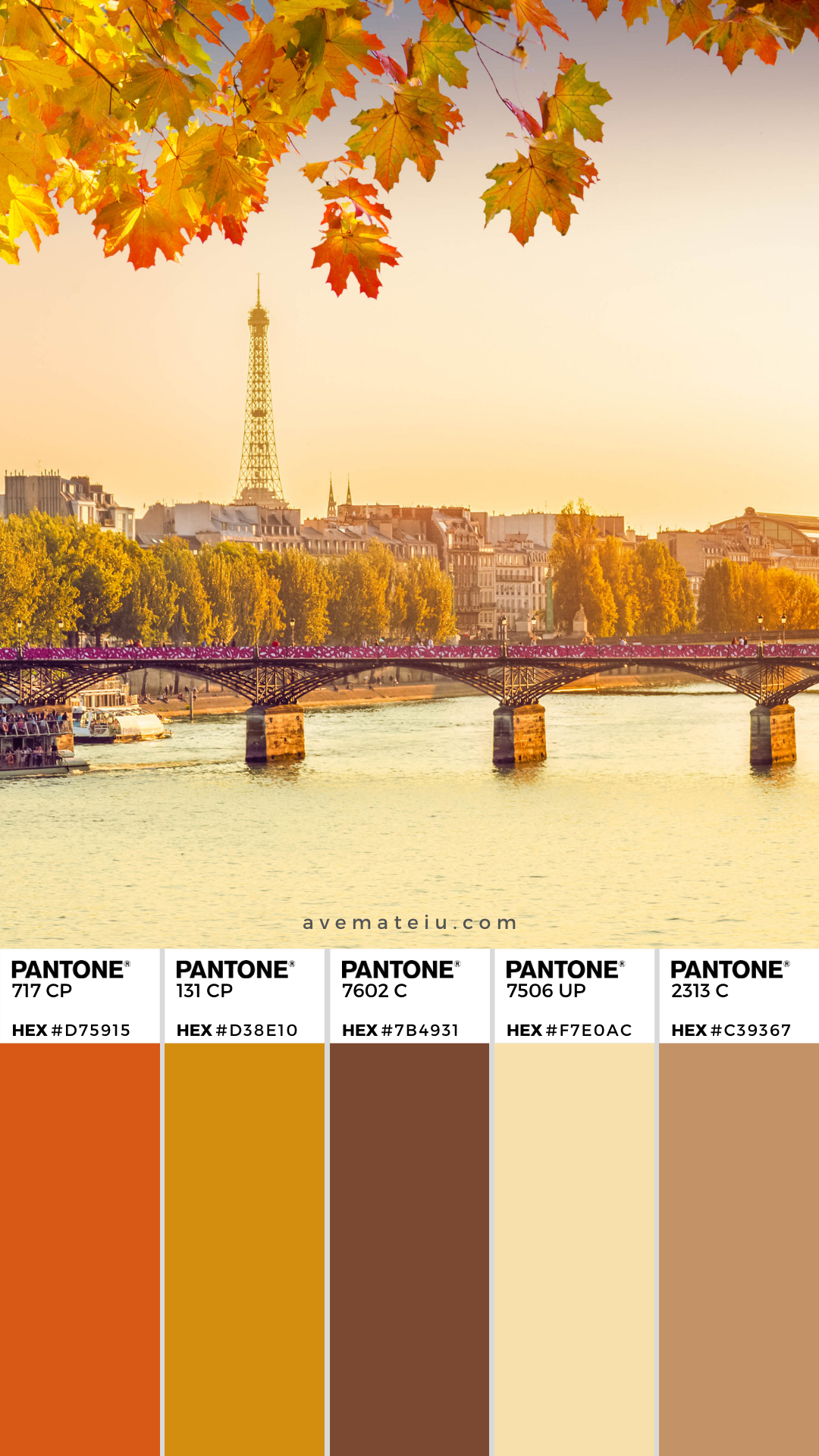 Pont Des Arts And Seine River At Sunny Autumn Sunset In Paris France Color Palette 354 France Colors Color Palette Color Palette Design