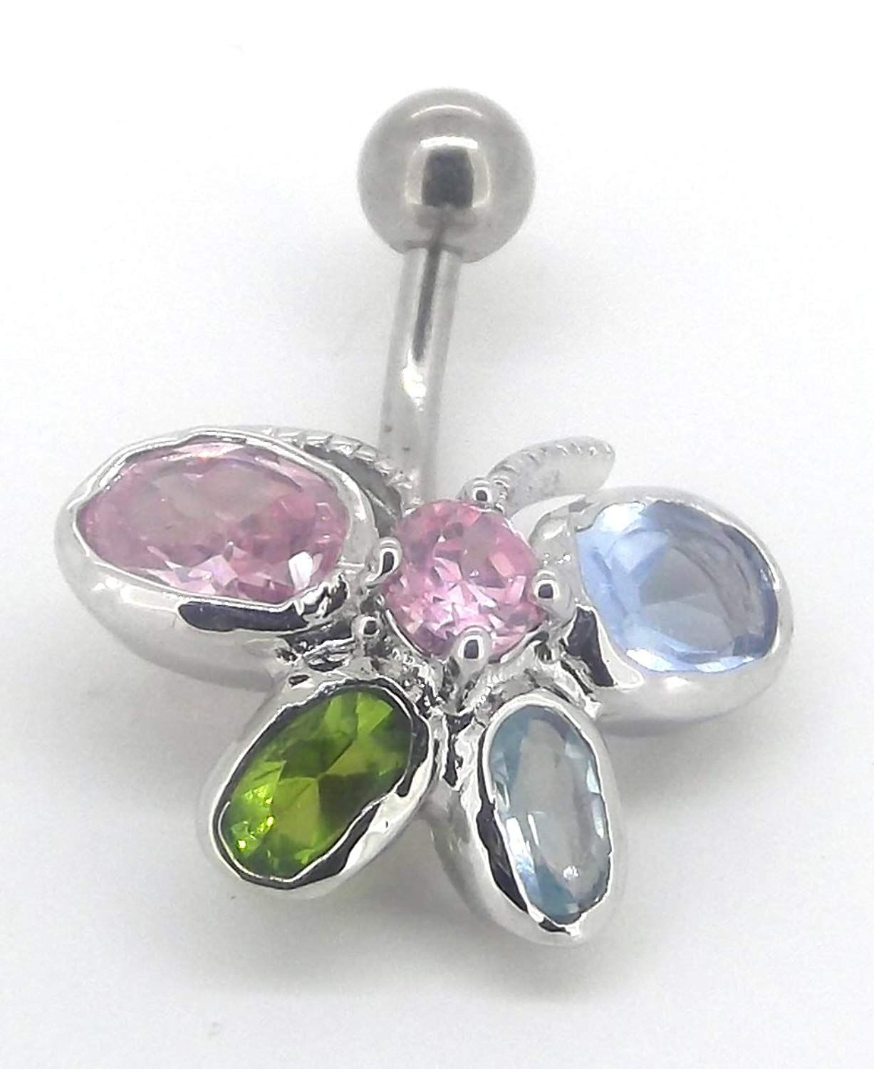 Pro body piercing  Body Accentz Belly Button Ring Navel Multi Color Butterfly Body