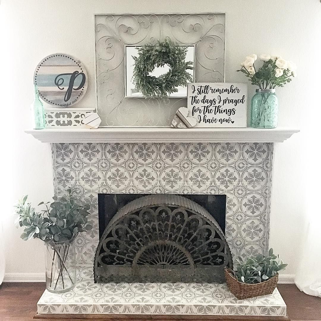 heather nicole designs used the abbey tile stencil from cutting edge stencils to give her fireplace