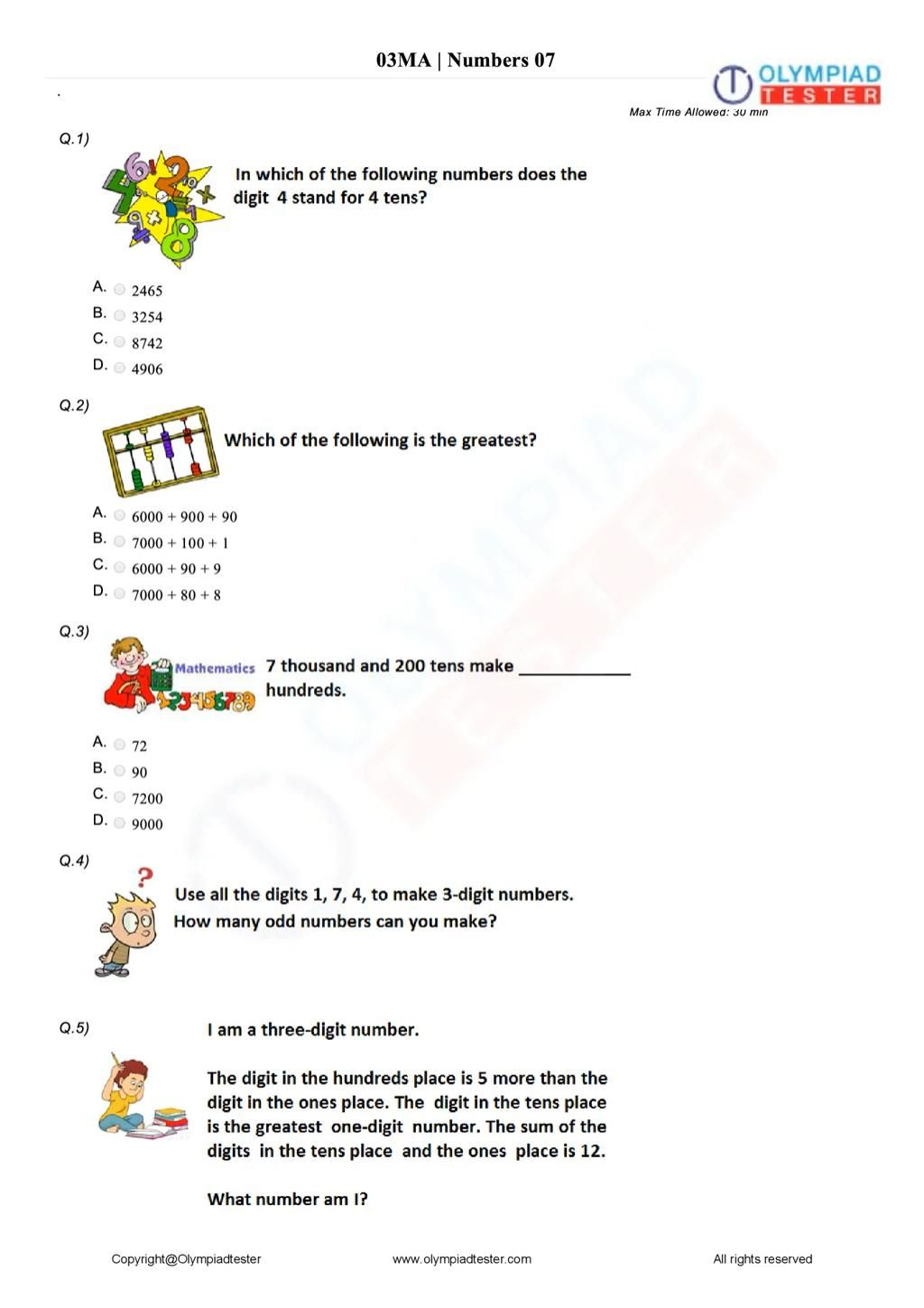 Class 3 Maths Olympiad Questions Numbers Video In 2021 Math Olympiad Math Olympiad Questions Question Paper Free math olympiad worksheets for grade