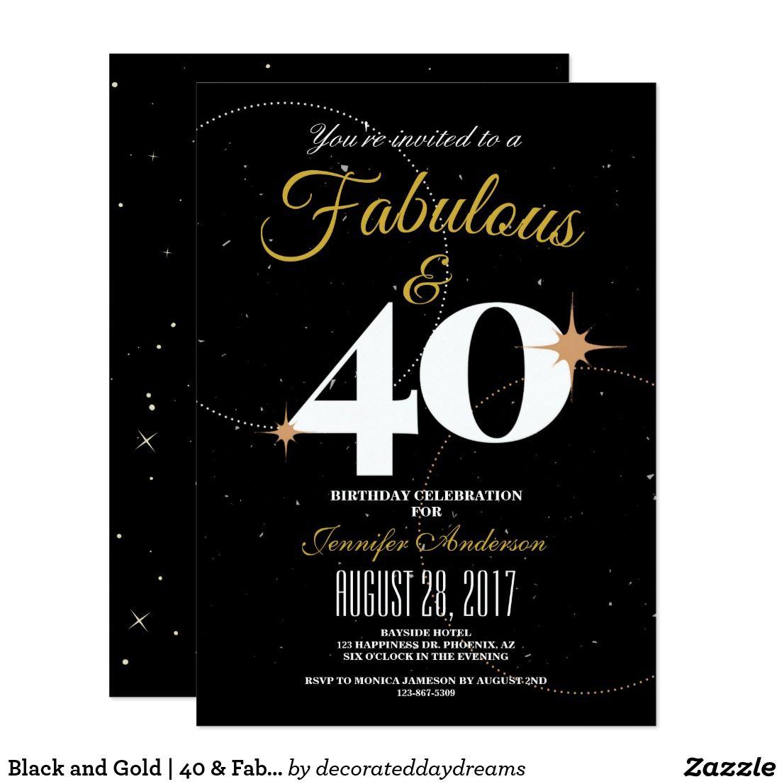 Black and Gold 40 & Fabulous Birthday Invitation