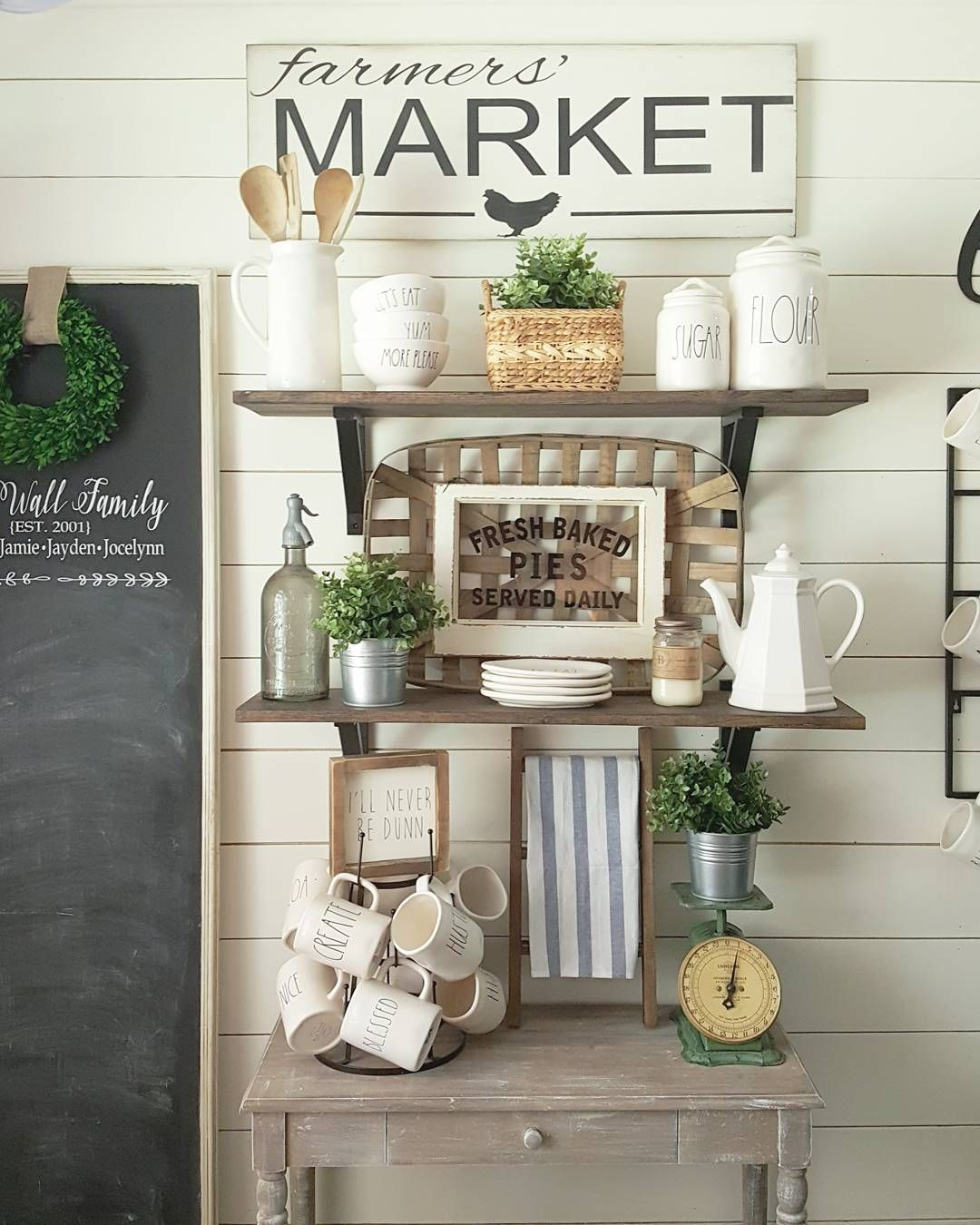 Kitchen Shelving. Open shelving. Rae Dunn. Farmhouse Style
