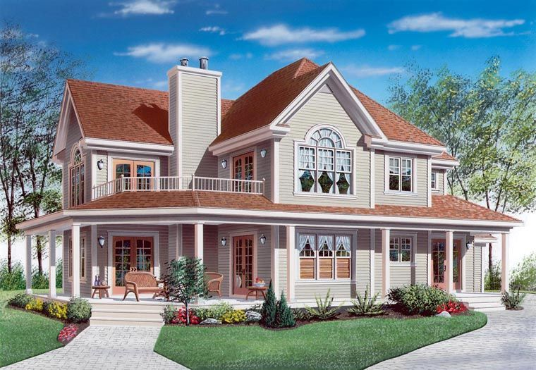 Traditional Style House Plan 65004 With 4 Bed 3 Bath 2 Car Garage Porch House Plans Country Style House Plans Drummond House Plans