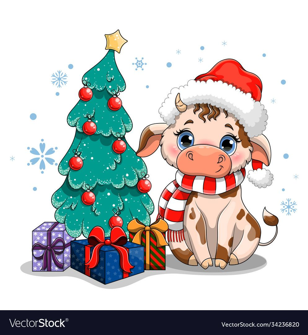 Cute Cow With Big Blue Eyes In A Santa Claus Hat Symbol Of 2021 Sitting Sitting Next To A Decorat In 2020 Cartoon Christmas Tree Christmas Canvas Christmas Characters Cartoon christmas tree with xmas elements vector 10. santa claus hat