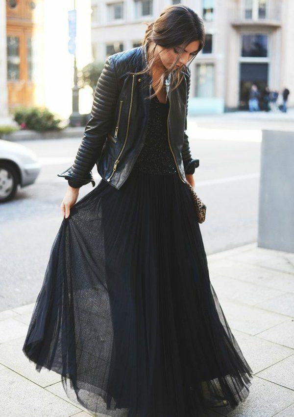 comment porter une jupe longue longues jupes noires. Black Bedroom Furniture Sets. Home Design Ideas