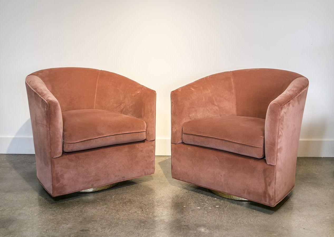 Milo Baughman Salmon Velvet Swivel Chairs With Gold Bases | Lynn .