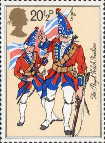 British Army Uniforms 20.5p Stamp (1983) Fusilier and Ensign, The Royal Welch Fusiliers (mid-18th century)